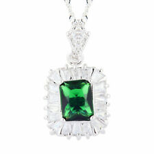 Melina Jewelry 18K White Gold Gp CZ Green Emerald Rectangular Pendant Necklace