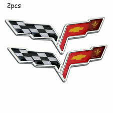 2pcs OEM Front Rear Crossed Flags Emblem Badge for Chevy 2005-2013 C6 Corvette Y