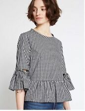 Marks and Spencer M&S Limited Collection Black White Gingham Check Top 16 44 L