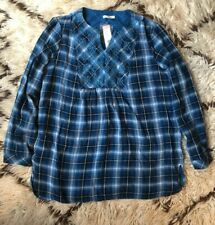 b4915c7d5ef NWT Westbound Petites LARGE Blue Plaid Peasant Blouse Long Sleeve