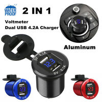 12V Dual USB Port Car Cigarette Lighter Charger Socket LED Digital Voltmeter