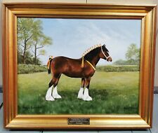 Original Acrylic On Board Presentation Painting By Anne Webber Shire Horse
