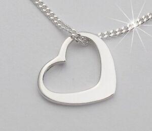 Damen Herzanhänger Herz Anhänger mit Hals-Kette Echt Silber 925 Schmuck Frauen