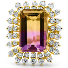 Certified Ametrine 11.90cttw and 2.00cttw Diamond 14KT Yellow Gold Ring