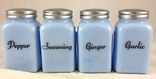 4 Pc Delphite Powder Blue Glass Roman Arch Pattern Spice Jar Kitchen Shakers Set