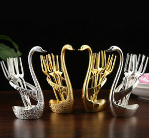 Creative Swan Table Kitchen Set Fruit Food Fork with Holder silver/gold