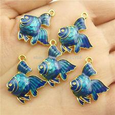 18296 3x Alloy Cloisonne Blue Enamel Goldfish Fish Pendant For Necklace Bracelet