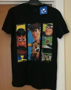 Toy Story: Mr Potato Head, Woody, Buzz Men's Black T-Shirt - Size M