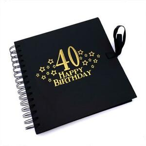 40th Birthday Black Scrapbook, Guest Book Or Photo album With Gold