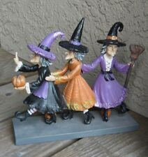 3 Dancing Witch Figurine*Primitive Halloween/Fall Table Decor*Pumpkins*Broom*Hat