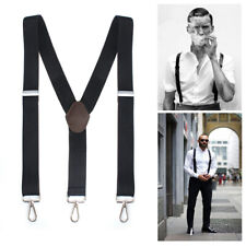 Men's Elastic Adjustable Clip On Suspenders Heavy Duty Work Y-Shape Back Braces