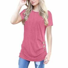 Women Short Sleeve Casual Button Trim Blouse Casual Round Neck Tunic T-Shirt Top