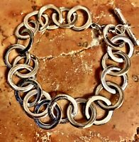 SILPADA Sterling Silver 925 Interlocking RING/HOOPS BRACELET W/TOGGLE Closure