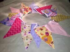 Handmade Double Sided Girls Bunting, Quilters Cotton , Room Decor 3m Long
