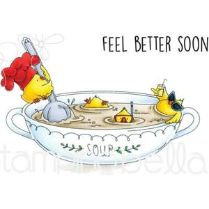 Chicken Soup Feel Better Soon Cling Rubber Stamp Set STAMPING BELLA EB670 New