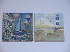 2 maritime Bilder, Leuchtturm, Segelboot, Rettingsring, Muscheln, Netz, Robben