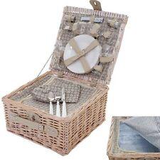 Picknickkorb-Set für 4 Personen, Kühlfach Porzellan Glas Edelstahl, beige