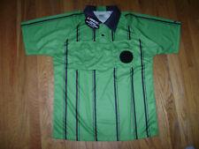 KWIK GOAL Soccer Futball REFEREE JERSEY Shirt GREEN & BLACK Short Sleeve Size M