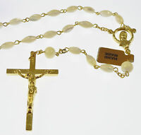 Mother of Pearl rosary beads in gift box oval gold chain hand made long Catholic
