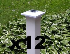 "12 Classy Solar Fence Post Cap Lights 4""X 4"" PVC/Vinyl Post 4 LEDs - White PL251"
