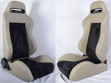 NEW 2 GRAY & BLACK RACING SEATS RECLINABLE + SLIDERS ALL PONTIAC *