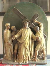17th Century Carved Wooden Jesus At Second Station Of Cross Statue  MUSEUM PIECE