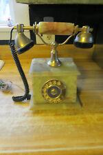 vtg beautiful antique onyx desk table telephone & handset & bell updated 2 work