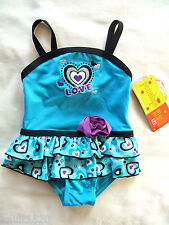 NWT Penelope Mack Baby Girl Blue Love Swim Suit Ruffled Beach Wear 12 Months $38