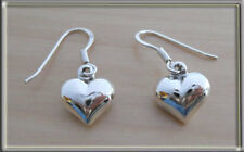 Puffed LOVE Heart Drop Dangling Earrings 10mm, 925 Sterling Silver
