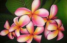 Frangipani Flowers Home Decor Canvas Print A4 Size (210 x 297mm)