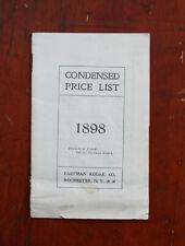 1898 Eastman Kodak Condensed Price List, Stains, Torn Page/cks/207954