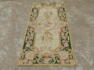 1.9'X3.8' Victorian Needlepoint Floral Wool Rug Rose Dark Green Beige Hand-woven