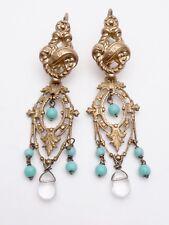 Importants pendants d'oreilles en pomponne et perles dormeuses ancienne XIXeme