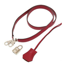 AUTHENTIC HERMES Shoulder strap Clochette cadena Rouge Granada Veau Swift 0091
