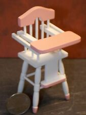 Dollhouse Miniature Baby High Chair White Pink 1:12  scale D56 Dollys Gallery