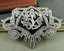 Art Deco Inspired Signed Sterling Silver & Marcsite Flower Pin / Brooch