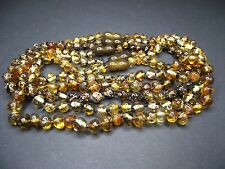 Lot-5 Genuine Baltic Amber Baby Necklace Yellowish-green shade 32-33cm.