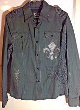 Bulzey Black Long Sleeved Button Down Casual Dress Shirt - Large