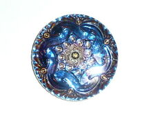 "Beautiful Blue Purple w/ Gold Accents Czech Volcano Glass Shank Button 1-5/8"""