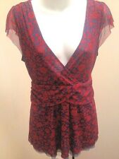 Ric Rac Anthropologie 6 Top Red Blue Floral Mesh Ruched Shirt