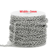 10 meters 3mm Width Stainless Steel Link Cable Chains for DIY Jewelry Making