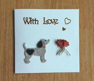 Lovely felted dog birthday card with flowers by Sarah Sample Art