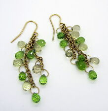 Tiffany & Co 18k Yellow Gold Briolette Peridot Lemon Quartz Pierced Earrings