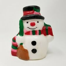 Vintage Christmas Snowman w Scarf Candle Wax Figurine Decoration Holiday Winter