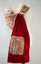 Palm & Pond Cotton Ring Sling Baby Carrier Multi Stripe With Zippered Pocket