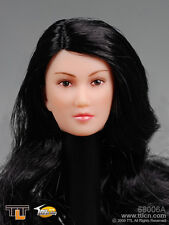 "1:6 TTL Female Head with Long Curly Black Hairstyle for 12"" Figures #68006A"