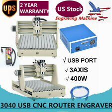 Usb 3 Axis Cnc 3040 Router Engraver Wood Drill Milling Machine 400W Handwheel