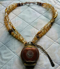 Antique Chinese Opium Box with Spoon, Natural Citrine Designer Necklace