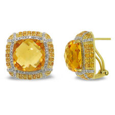 14K Gold Cabochon Cushion Citrine Yellow Sapphire Diamond Square Stud Earrings
