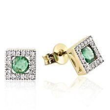 Goldmaid Ohrstecker 375 Gelbgold 40 Diamanten 0,20 ct. Smaragde Farbsteine